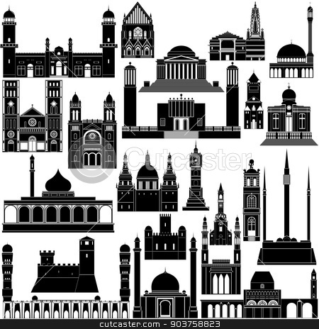 Architecture Africa-5 stock vector clipart, Contour collection of buildings and structures. Illustration on white background. by Sergey Skryl