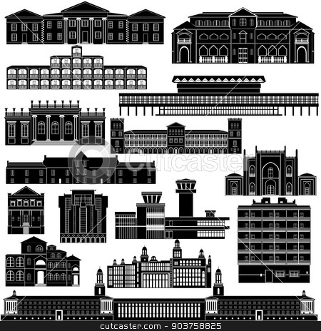 Architecture Africa stock vector clipart, Contour collection of buildings and structures. Illustration on white background. by Sergey Skryl