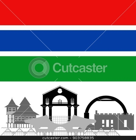 Gambia stock vector clipart, State flag and architecture of the country. Illustration on white background. by Sergey Skryl