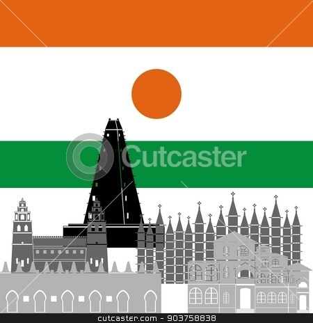 Niger stock vector clipart, State flag and architecture of the country. Illustration on white background. by Sergey Skryl