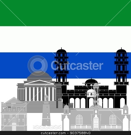 Republic of Sierra Leone stock vector clipart, State flag and architecture of the country. Illustration on white background. by Sergey Skryl