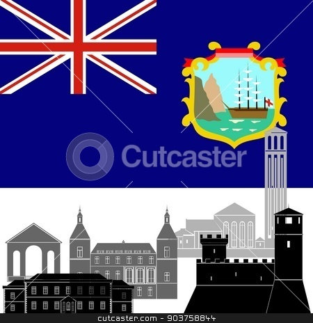 Saint Helena stock vector clipart, State flag and architecture of the country. Illustration on white background. by Sergey Skryl