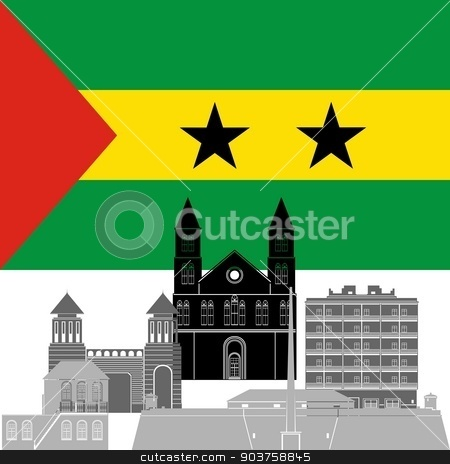 Sao Tome and Principe stock vector clipart, State flag and architecture of the country. Illustration on white background. by Sergey Skryl