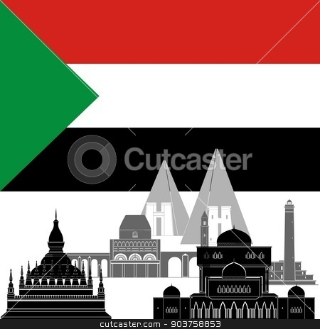 Sudan stock vector clipart, State flag and architecture of the country. Illustration on white background. by Sergey Skryl