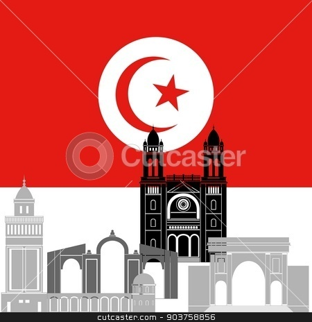 Tunisia stock vector clipart, State flag and architecture of the country. Illustration on white background. by Sergey Skryl