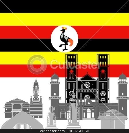 Uganda stock vector clipart, State flag and architecture of the country. Illustration on white background. by Sergey Skryl