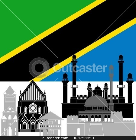 United Republic of Tanzania stock vector clipart, State flag and architecture of the country. Illustration on white background. by Sergey Skryl