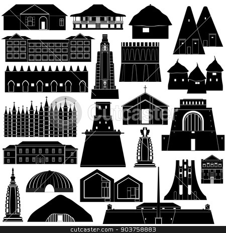 Architecture Africa-1 stock vector clipart, Contour collection of buildings and structures. Illustration on white background. by Sergey Skryl
