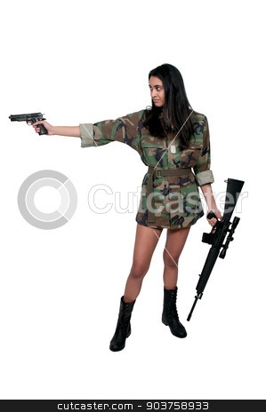 Woman Soldier stock photo, Beautiful young woman soldier with a pistol and rifle by Robert Byron