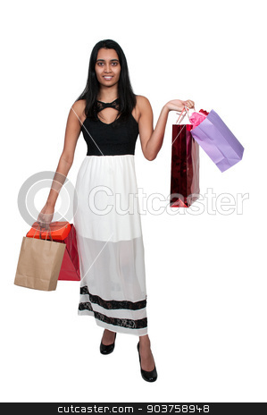 Woman Shopping stock photo, Beautiful multi ethnic diverse woman on a shopping spree by Robert Byron