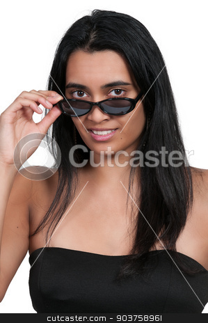 Woman in Sunglasses stock photo, Beautiful woman wearing a pair of sunglasses by Robert Byron