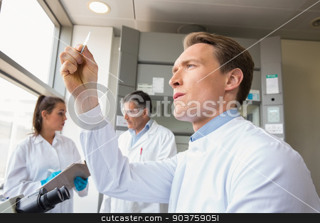 Scientist looking at test slide stock photo, Scientist looking at test slide at the laboratory by Wavebreak Media