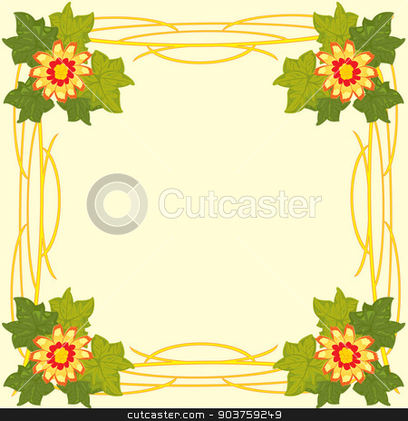 Decorative frame with flower stock vector clipart, Vector illustration of the decorative frame with flower and sheet by cobol1964