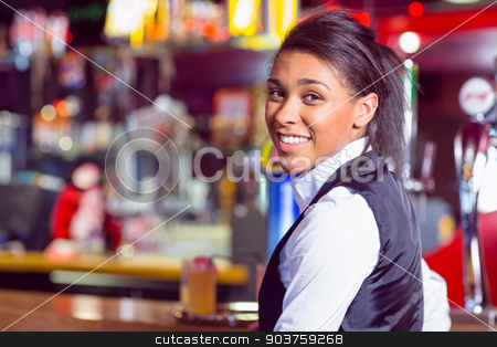 Pretty barmaid smiling at camera stock photo, Pretty barmaid smiling at camera in a bar by Wavebreak Media