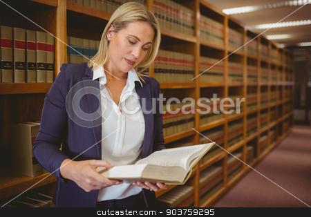 Serious librarian reading a book stock photo, Serious librarian reading a book in library by Wavebreak Media