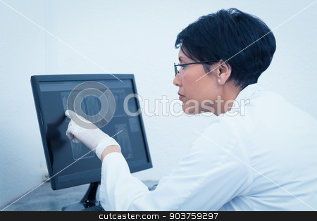 Female dentist looking at x-ray on computer stock photo, Concentrated female dentist looking at x-ray on computer by Wavebreak Media