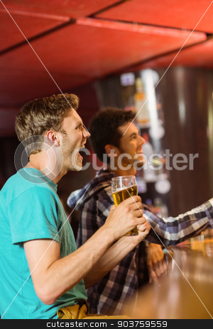 Happy friends sitting and drinking beer stock photo, Happy friends sitting and drinking beer in a pub by Wavebreak Media