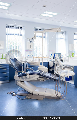 Inside of the clinic with dentists chairs, computer and tools stock photo, Inside of the clinic with dentists chairs, computer and tools at the dental hospital by Wavebreak Media