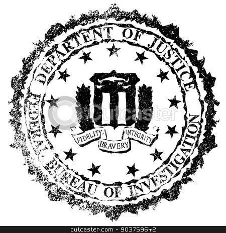 FBI Rubber Stamp stock vector clipart, The seal of the Federal Bureau of Information as a rubber stamp over a white background by Kotto