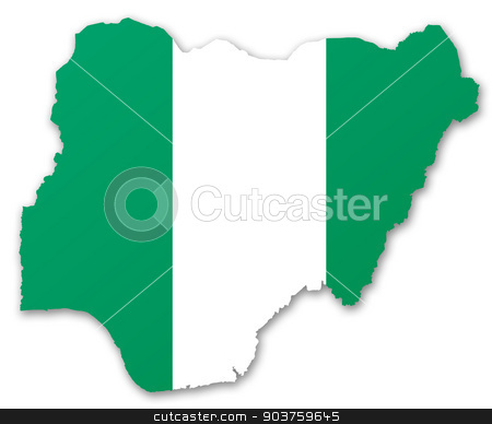Map and flag of Nigeria stock photo, Illustration of a map with a flag of Nigeria by MIPImages