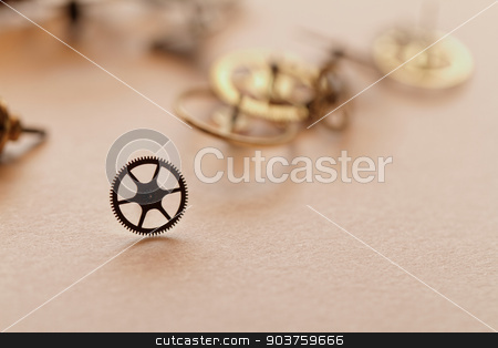 Small parts of clock stock photo, Detail of clock parts for restoration by Nneirda