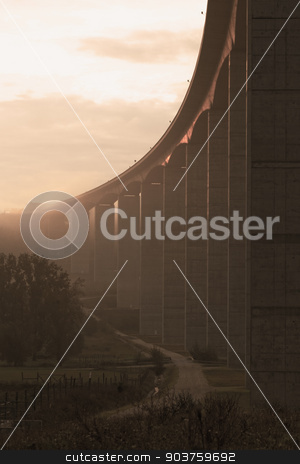 Large highway viaduct ( Hungary) stock photo, Large highway viaduct with foggy sunrise on autumn by Nneirda