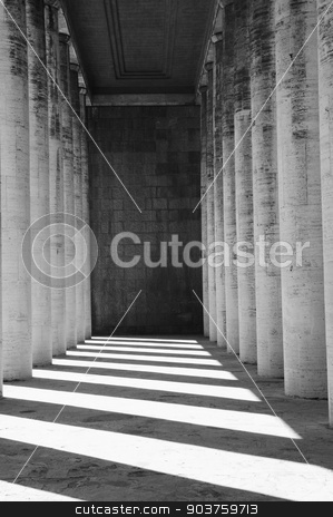 colonnaded stock photo, effect of the lights of a colonnaded Roman with lights and soft shadows in contrast  by ermetico