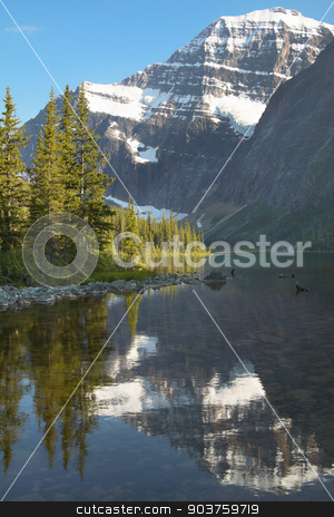 Canadian landscape with Mount Edith Cavell. Jasper. Alberta. Can stock photo, Canadian landscape with Mount Edith Cavell. Jasper. Alberta. Canada. Vertical by ABBPhoto