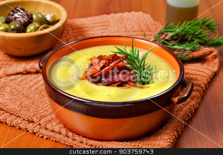 cream of potato and leek with toasted bacon stock photo, cream of potato and leek with toasted bacon in a ceramic bowl by Alfio Roberto Silvestro
