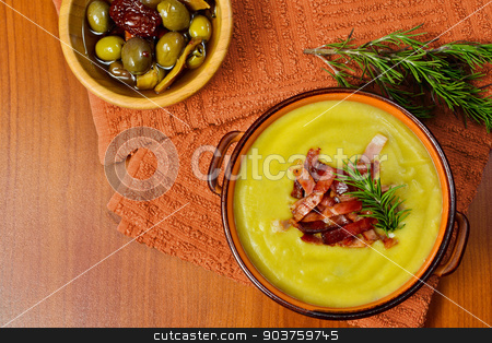 cream of potato and leek with toasted bacon stock photo, cream of potato and leek with toasted bacon in by Alfio Roberto Silvestro