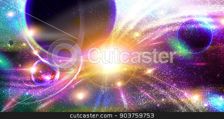 Space Background with planets, stardust and meteorites stock photo, Space Background with planets, stardust and meteorites by Madalina Costin