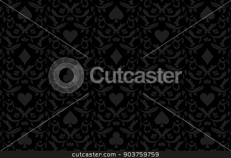 Luxury black poker background with card symbols stock vector clipart, Exclusive black poker background with card symbols by Ludek Vodicka