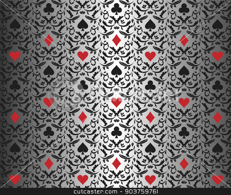 Luxury silver poker background with card symbols ornament stock vector clipart, Exclusive silver poker background with card symbols by Ludek Vodicka