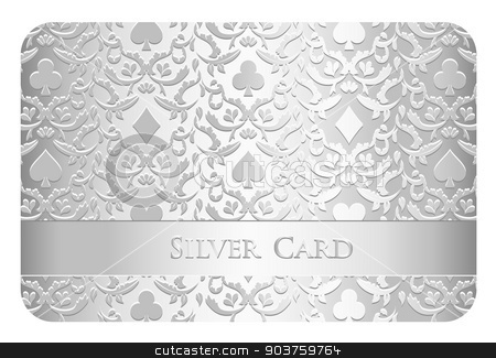 Luxury silver card with card symbols ornament stock vector clipart, Golden card with card symbols ornament by Ludek Vodicka