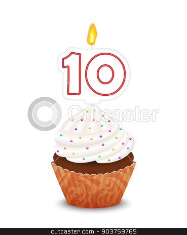 Birthday cupcake with candle number ten shape stock vector clipart, Birthday cupcake with candle number ten shape by Ludek Vodicka