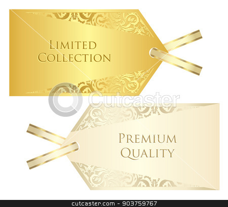 Luxury cream and golden price tag with vintage pattern stock vector clipart, Exclusive cream and golden price tag with vintage pattern by Ludek Vodicka