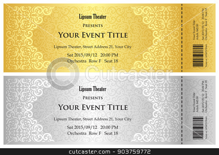 Luxury golden and silver theater ticket with vintage pattern stock vector clipart, Exclusive golden and silver theater ticket with vintage pattern by Ludek Vodicka