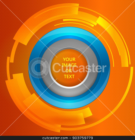 3D tech circle frame on a orange background. Vector illustration stock vector clipart, 3D tech circle frame on a orange background. Vector illustration by Artem