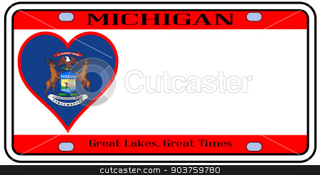 Michigan License Plate stock vector clipart, Michigan state license plate in the colors of the state flag with the flag icons over a white background by Kotto
