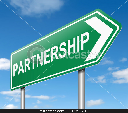 Partnership concept. stock photo, Illustration depicting a sign with a partnership concept. by Samantha Craddock
