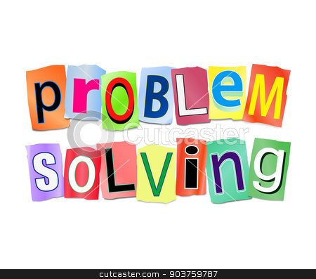 Problem solved. stock photo, Illustration depicting a set of cut out printed letters arranged to form the words problem solved. by Samantha Craddock