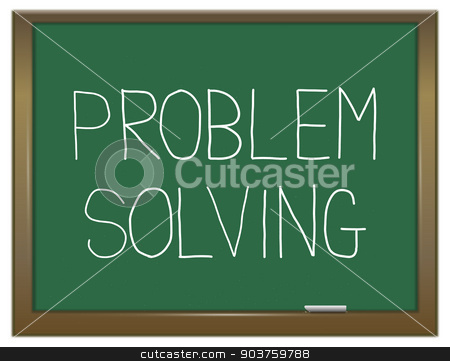 Problem solving. stock photo, Illustration depicting a green chalkboard with a problem solving concept. by Samantha Craddock