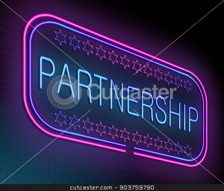 Partnership concept. stock photo, Illustration depicting an illuminated neon sign with a partnership concept. by Samantha Craddock