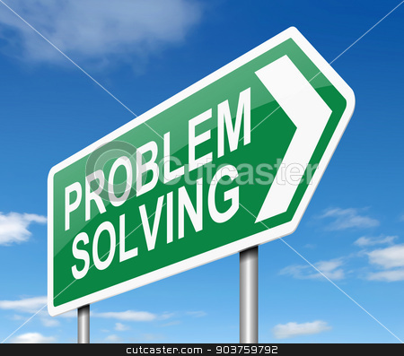 Problem solving. stock photo, Illustration depicting a sign with a problem solving concept. by Samantha Craddock