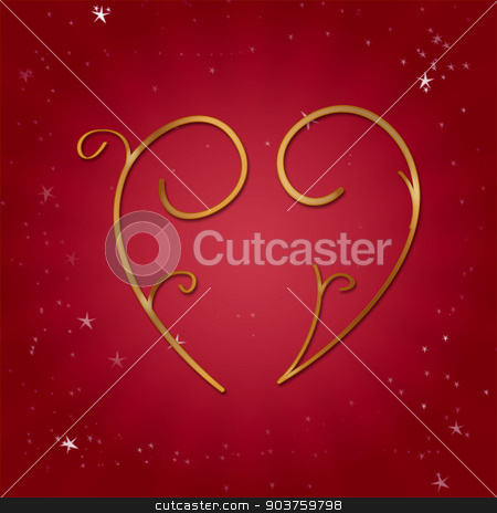 Valentine s Day heart stock photo, Golden heart on a red background for Valentine s Day by MIPImages