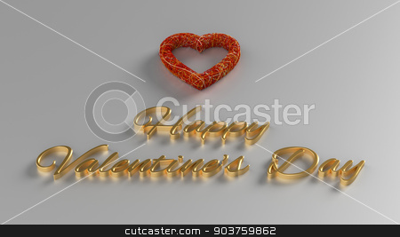 Happy Valentines Day 3D Render with gold text and red heart stock photo, Happy Valentines Day 3D Render with gold text and red heart by Andrej Kaprinay
