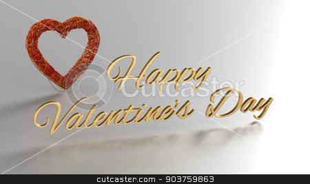Happy Valentines Day 3D Render with gold text and red heart stock photo, Happy Valentines Day 3D Render with gold text and red heart at background by Andrej Kaprinay