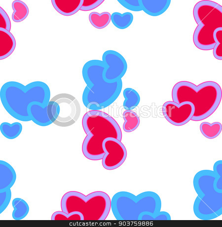 background with red and blue hearts. Seamless pattern stock vector clipart, background with red and blue hearts. Seamless pattern. Vector by Serhii