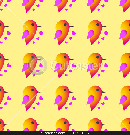 bird sparrow. St. Valentine's Day. Seamless pattern. Vector stock vector clipart, bird sparrow. St. Valentine's Day. Seamless pattern. Vector Seamless pattern. Vector illustration by Serhii