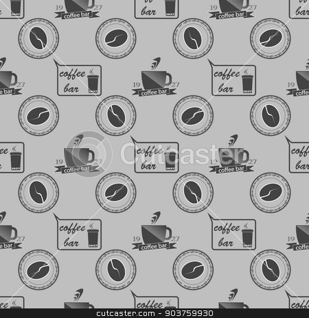 Set of vintage coffee themed monochrome labels. Seamless pattern. Vector stock vector clipart, Set of vintage coffee themed monochrome labels. Seamless pattern. Vector illustration by Serhii